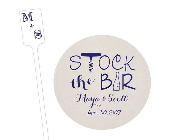 Stock the bar shower decorations, stock the bar personalized coasters, monogrammed stirrers, wood stirrer sticks, foil stamped coasters