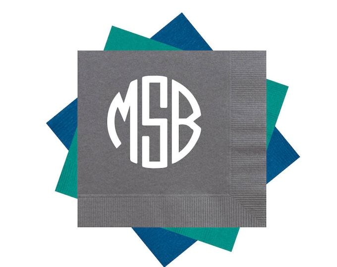 Featured listing image: circle monogram cocktail napkins, monogrammed party napkins, reception napkins, wedding napkins, birthday party napkins, beverage napkins