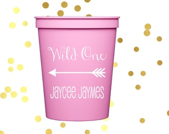 kids birthday cups, first birthday party cups, personalized plastic stadium cups, child's birthday party favor, wild one first birthday