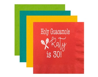 Fiesta themed birthday, Holy guacamole napkins, Birthday napkins, 30th birthday napkins, personalized napkins, monogrammed party napkins,