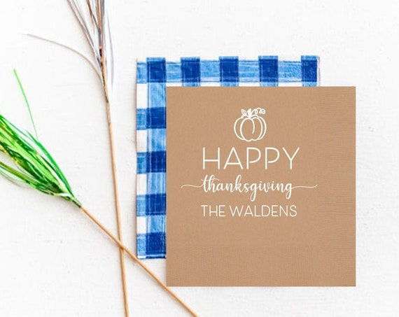 Cute Thanksgiving napkins, Personalized Thanksgiving napkins, Pumpkin napkins, Cute holiday party napkins, Customizable Thanksgiving napkins