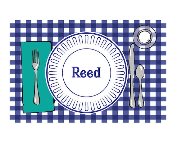 Personalized placemat, Laminated placemat, Toddler placemat, Gingham placemat, Kids placemat, Laminated craft mat, Kids gift idea