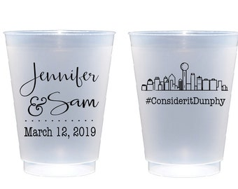 Dallas skyline cups, Hashtag wedding cups, reception cup, personalized cup, shatterproof cup, wedding cups, frosted cups, custom plastic cup