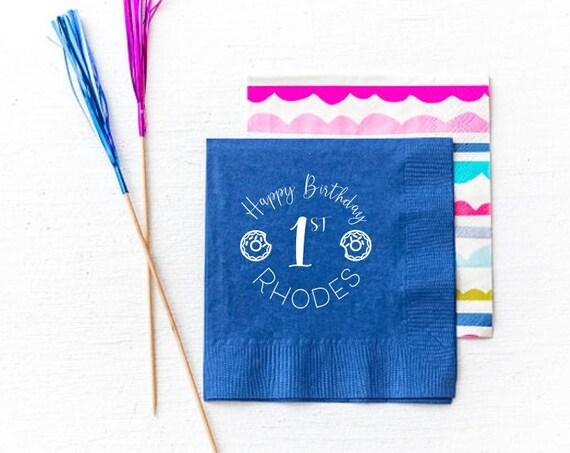 First birthday napkins, Donut birthday napkins, Donut birthday favor, Donut birthday decor, Personalized birthday napkins, Custom napkins