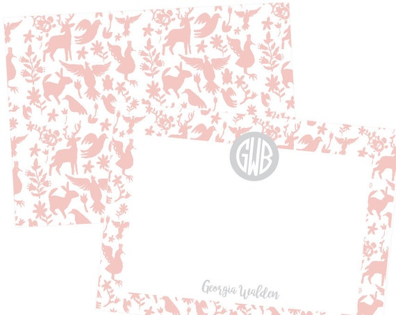 Otomi stationery, monogrammed stationery, baby girl stationery, girls stationery, monogram stationery set, personalized thank you notes