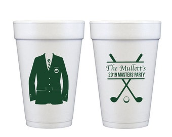 Masters cups, Masters viewing party cups, Green jacket cups, Green blazer cups, Golf party cups, Golf theme party, Golf birthday party