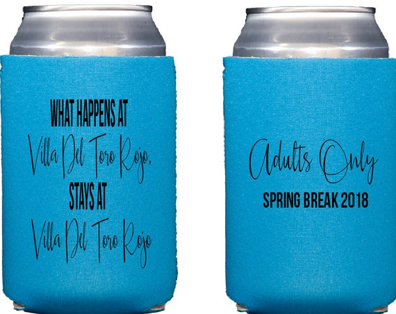 Spring break can cooler, spring break hugger, adults only spring break, Personalized Neoprene huggie, Reception can cooler, drink sleeve