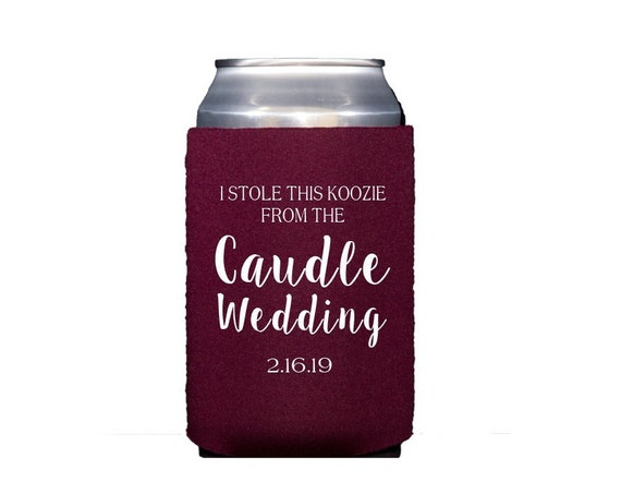 Wedding can cooler, Wedding drink sleeve, Wedding favor, Wedding shower favor, Personalized drink sleeve, Peronsalized can cooler