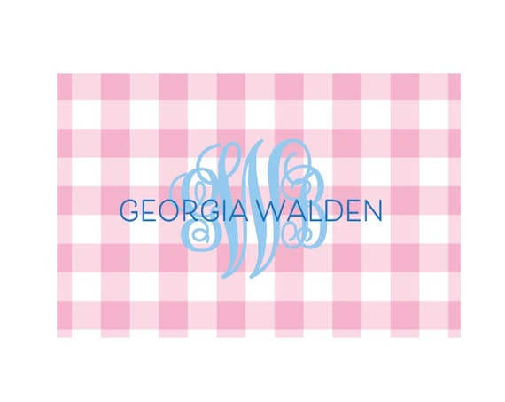 Personalized placemat kids, Gingham placemat, Monogrammed placemat, Kids Placemat, Laminated placemat, Pink gingham placemat, Kid gift idea