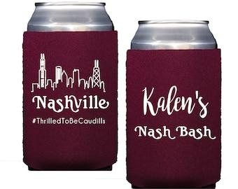 Nashville bachelorette party, Personalized Neoprene can cooler, Bachelorette bash decor, Bridesmaid can cooler, Nashville wedding favor