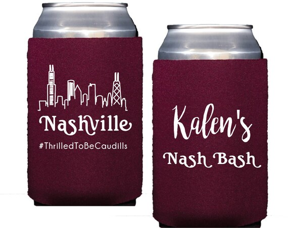Nashville bachelorette party, Personalized Neoprene can cooler, Bachelorette bash decor, Bridesmaid can cooler, Nashville wedding favor