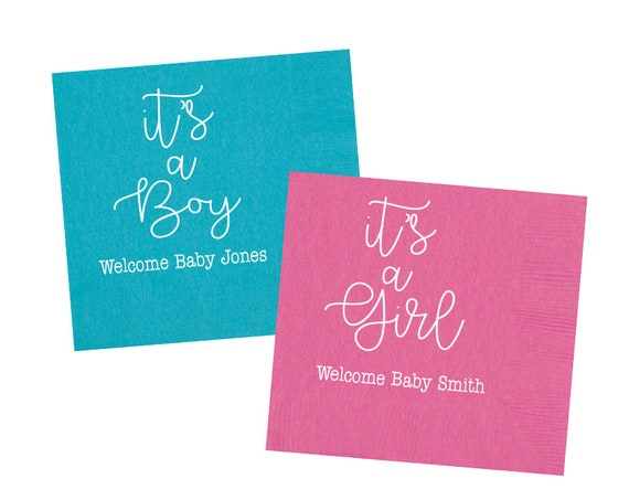 baby shower napkins, baby shower decor, personalized napkins, it's a girl, it's a boy, gender reveal napkins, monogrammed napkins