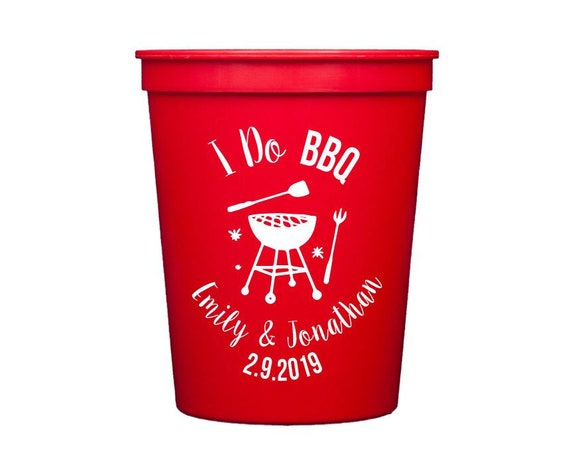 I do bbq, personalized bbq cups, bbq wedding shower cups, couples shower cups, monogrammed wedding cups, bbq party cups, custom party cups