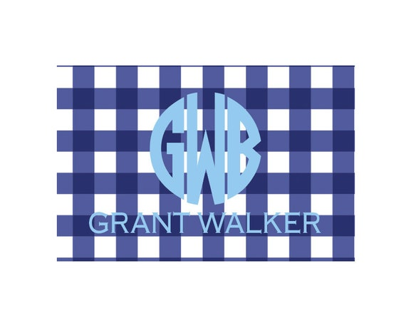 Boy placemat, Kids Placemat, Gingham placemat, Personalized placemat, Laminated placemat, Monogrammed placemat, Craft mat, Kids gift idea
