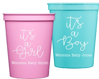 baby shower cups, gender reveal cups, its a boy, its a girl, personalized plastic cups, custom party cups, monogrammed plastic cups