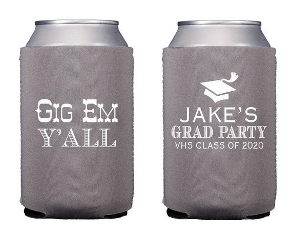 Graduation can coolers, Grad party favor, Class of 2020 graduation party, Graduation favor, Personalized can cooler, Graduation hugger