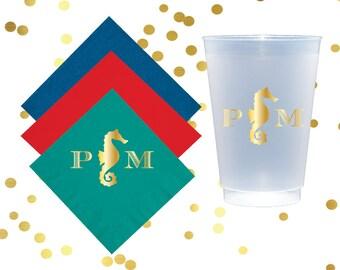Seahorse shatterproof cup, beach wedding monogrammed cups, reception cups, nautical napkins, frost flex cups, beach house cups, beach trip