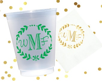 Personalized plastic cup, monogrammed shatterproof cup, birthday party cups, wedding reception cups, monogrammed cups, wedding shower cups