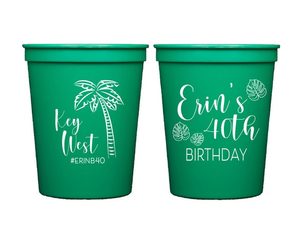 Key West birthday, 40th birthday party cups, Key West cups, Palm tree cups, Personalized plastic cups, Adult birthday party cups