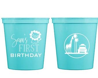 Safari first birthday cups, Safari theme birthday cups, Personalized birthday cups, Kids birthday party cups, Boy first birthday, Safari cup