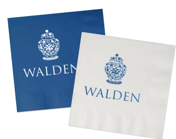 Featured listing image: Ginger jar napkins, personalized napkins, chinoiserie cocktail napkins, ginger jar artwork, hostess gift napkins, blue and white napkins