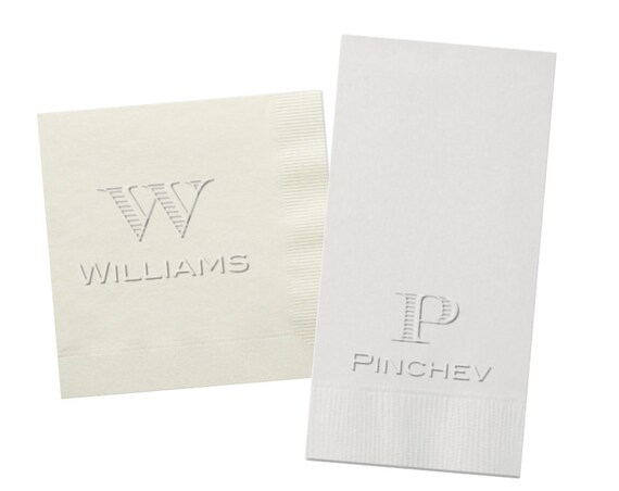 Embossed napkins, Embossed personalized napkins, Embossed cocktail napkins, Embossed guest towels, Bar cart napkins, Housewarming gift idea