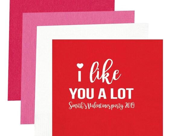 I like you a lot napkins, Valentines napkins, Valentines day napkins, Valentines day party, Valentines decor, Personalized napkins