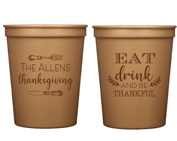 Thanksgiving cups, Eat drink and be thankful, Turkey time cups, Personalized thanksgiving cups, Personalized friends giving cups