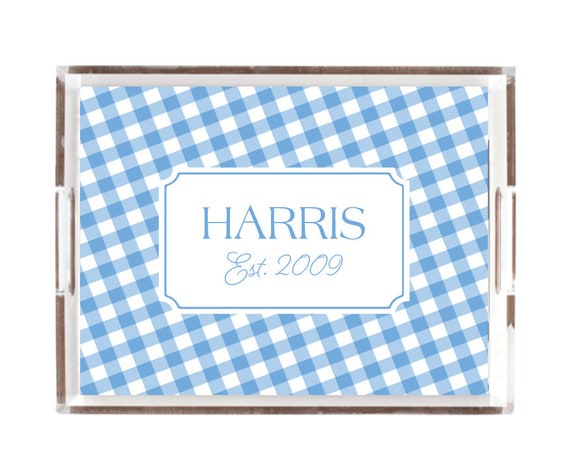 Personalized tray, Acrylic tray, Blue gingham tray, Housewarming gift idea, Lucite tray, Tray with insert, Monogram tray, customizable tray