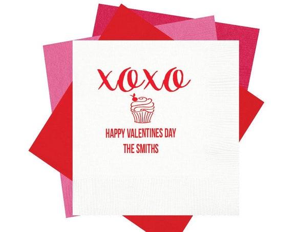 valentines decorations, valentines napkins, valentines gift, vday napkins, xoxo napkins, cupcake napkins, happy valentines day decor