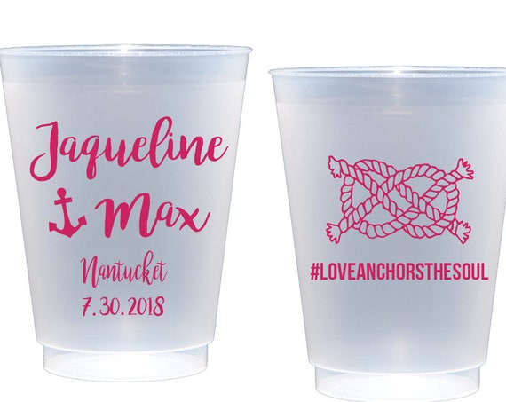 Love Anchors the Soul cups Personalized Shatterproof Cups Anchor Cups Nautical Cups Reception cups