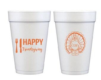 Friendsgiving cups, Thanksgiving cups, Thanksgiving foam cups, Friendsgiving decor, Turkey time cups, Personalized cups, Custom foam cups,