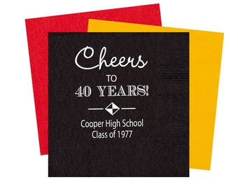 High school reunion napkins, class reunion favors, personalized napkins, high school graduation party, adult party favors, homecoming favor