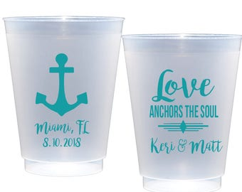 Love Anchors the Soul cups Personalized Shatterproof Cups Anchor Cups Nautical Wedding Cups Reception cups Personalized plastic cups