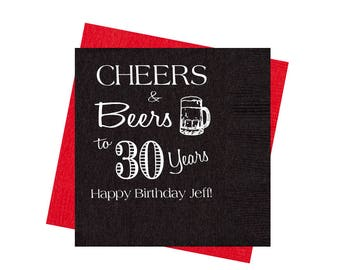 30th Birthday Party Napkins Cheers And Beers Adult Decorations Guys Favors