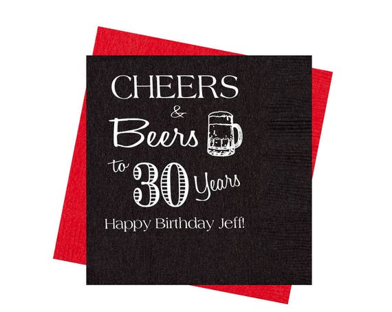 30th Birthday party napkins, Cheers and beers birthday napkins, adult birthday party decorations, guys birthday party favors, party napkins