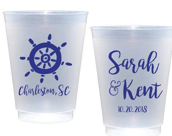 Wedding Cups Nautical Cups Nautical Party Cups Anchor cups Anchor Wedding Cups Beach wedding coastal wedding personalized shatterproof cups