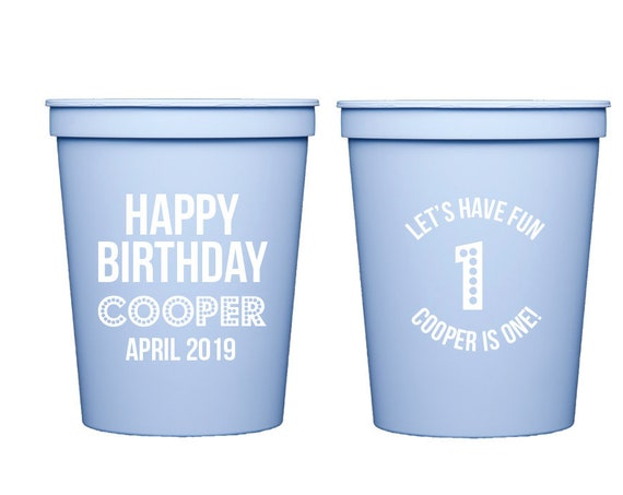 First birthday cups, First birthday party cups, Personalized birthday cups, Personalized cups, Kids birthday party cups, Kids party cups