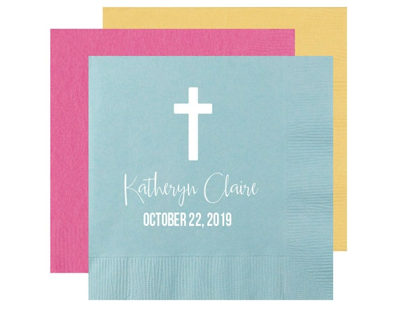 Christening napkins, Baptism napkins, first communion napkins, Confirmation napkins, Church party napkins, First communion decor