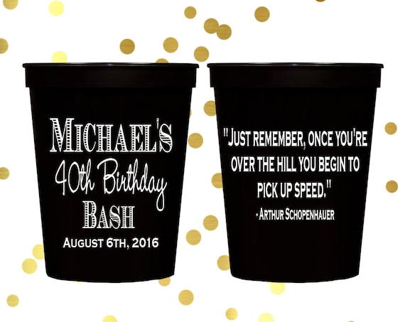 personalized birthday cups, personalize cups, birthday party cups, personalized stadium cups, party cups, 40th birthday party, party favor