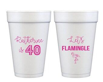 40th birthday cups, Flamingo birthday cups, 40th birthday party cups, Personalized birthday cups, Customized birthday cups, Let's flamingle