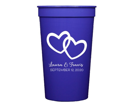 Double heart wedding cups, Personalized wedding cups, Personalized reception cups, Personalized plastic cups, Wedding favor, Heart favor