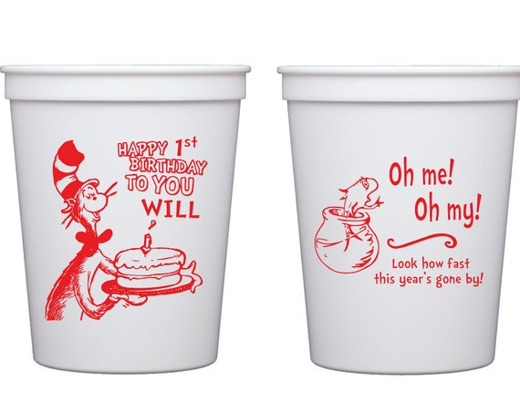 Dr Seuss birthday cups, Personalized birthday cups, Cat in the hat birthday party, Dr Seuss birthday theme, First birthday cups