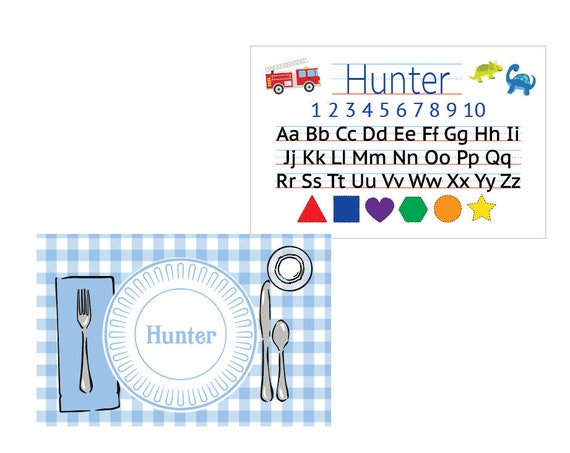 Kids placemat, Laminated placemat, Alphabet Placemat, Personalized placemat, Boy placemat, Customized Placemats for kids, Kids gift idea