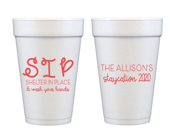 Shelter in place cups, Quarantine cups, Quarantine and chill, Quarantini, Personalized cups, Styrofoam cups, Funny social distancing cups