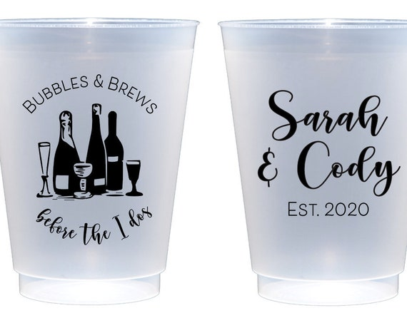 Bubbles and brews before the i dos, Stock the bar party, Bubbles and brews cups, Personalized wedding shower cups, engagement party cups