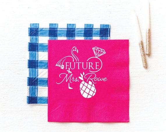 Wedding shower napkins, Future Mrs napkins, From miss to mrs napkins, Bridal shower napkins, Beach themed bridal shower, pink napkins