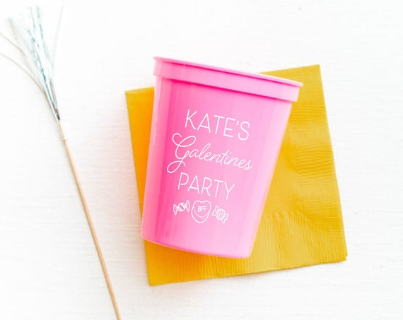 Galentines party cups, Galentines party favor, Valentines cups, Valentines party favor, Personalized plastic cups, Personalized party cups