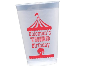 Circus birthday cups, Circus themed party, Kids birthday party cups, Birthday cups, Personalized cups, Personalized shatterproof cups