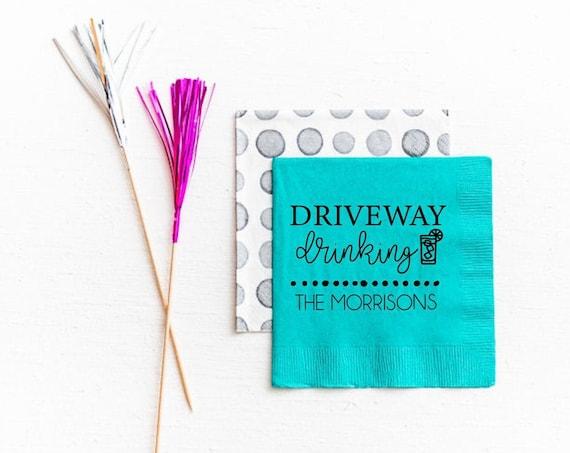 Driveway drinking napkins, Driveway drinker napkins, Funny quarantine gift, Social distancing gift, Social distancing napkins, Funny napkins